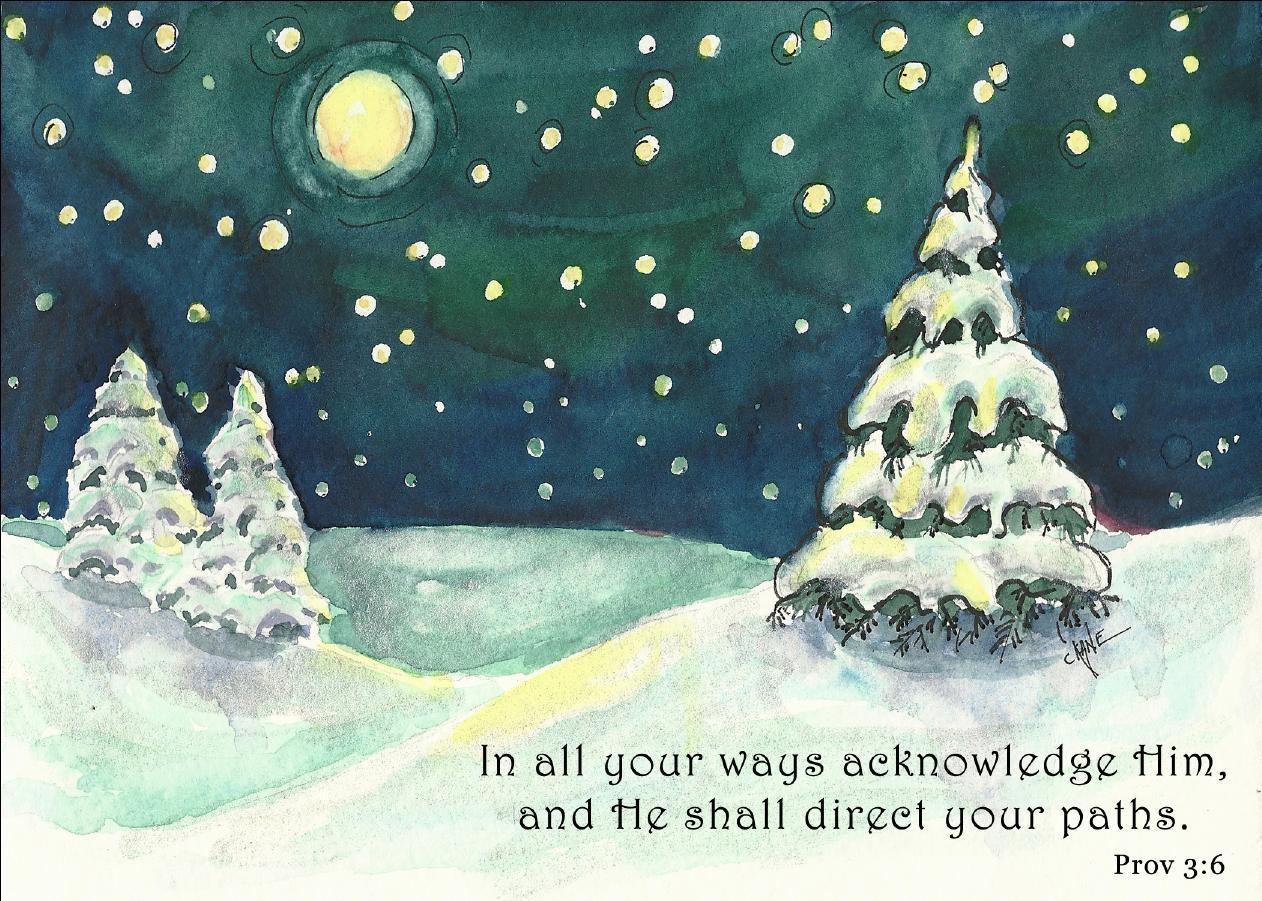 Winter Night – Painting By Christine Novak Kane – Poems From Psalms ...