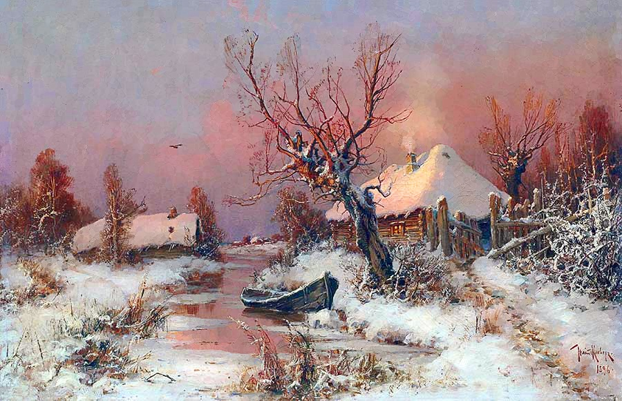 Winter Scenery With River